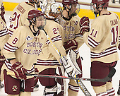 Travis Jeke (BC - 8), Brad Barone (BC - 29), Michael Sit (BC - 18), Chris Calnan (BC - 11) - The visiting Harvard University Crimson defeated the Boston College Eagles 6-3 (EN) on Tuesday, November 11, 2014, at Kelley Rink in Conte Forum in Chestnut Hill, Massachusetts.