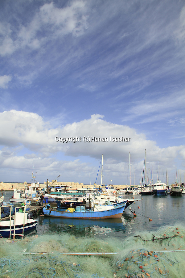 Israel, Tel Aviv-Yafo, fishing boats in Jaffa port