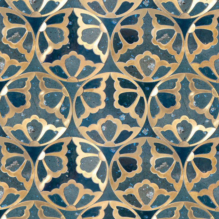 Rosamond, a waterjet stone mosaic, shown in Orchid Basalto and Brass, is part of the Bright Young Things™ collection by New Ravenna.