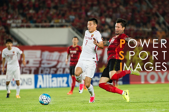 Guangzhou Defender Zhang Linpeng (R) fights for the ball with Shanghai FC Forward Wu Lei (L) during the AFC Champions League 2017 Quarter-Finals match between Guangzhou Evergrande (CHN) vs Shanghai SIPG (CHN) at the Tianhe Stadium on 12 September 2017 in Guangzhou, China. Photo by Marcio Rodrigo Machado / Power Sport Images
