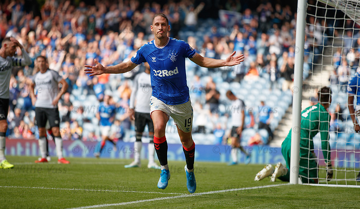 28.07.2019 Rangers v Derby County: Nikola Katic celebrates his goal