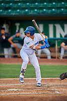 Imanol Vargas (34) of the Ogden Raptors at bat against the Grand Junction Rockies at Lindquist Field on September 9, 2019 in Ogden, Utah. The Raptors defeated the Rockies 6-5. (Stephen Smith/Four Seam Images)