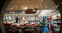 A window display for preppy retailer Vineyard Vines in New York on Sunday, August 14, 2016. (© Richard B. Levine)