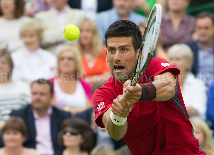 Novak Djokovic in action during his game against Grigor Dimitrov<br /> <br /> The Boodles Tennis Event, Stoke Park Thursday 20th 2013,  Photo: Richard Washbrooke Photography