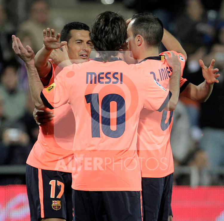 FC Barcelona's Pedro Rodriguez, Lionel Messi and Andres Iniesta celebrate goal during La Liga match.November 07,2010. (ALTERPHOTOS/Acero)