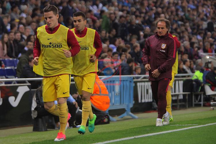 League Santander 2016/2017. Game: 33.<br /> RCD Espanyol vs Atletico de Madrid: 0-1.<br /> Gameiro, Correa &amp; Oscar Ortega.