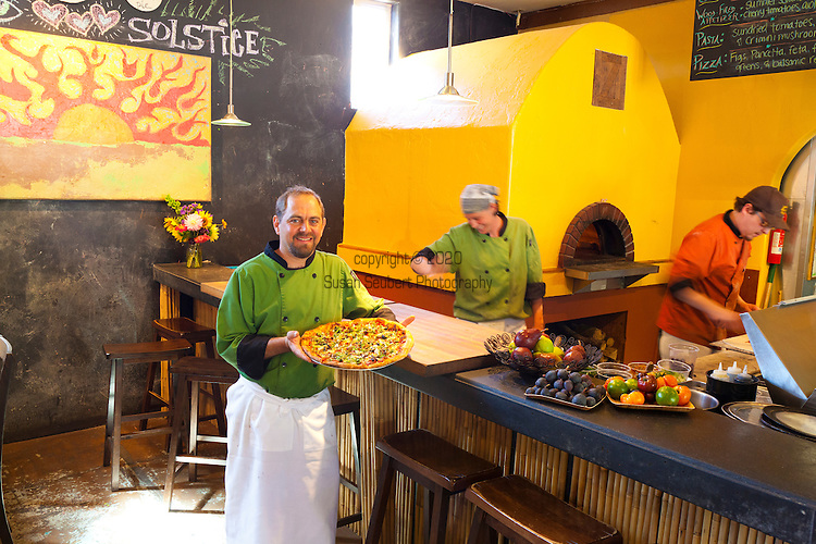 Aaron Baumhackl, owner of Solstice, a cafe that features a wood fired oven, local beer and wine, food made with locally sourced ingredients in Bingen Washington, located in Washington's Columbia River Gorge