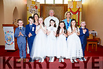 The pupils from Scoil Bhreanainn, Portmagee who made their First Holy Communion on Saturday in Saint Patrick's Church, Portmagee pictured here with Rose Mullarkey, Fr, Patsy Lynch & Angela O'Connor.