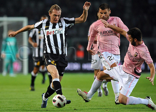23.09.2010 Juventus slumped to a shock home defeat in Serie A as Palermo picked up their first win of the season. Photo shows Cesare Bovo Palermo and MilKrasic Juventus.