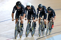 Nick Kergozou, Stewart Campbell, Regan Gough and Luke Mudgway during training, Avantidrome, Home of Cycling, Cambridge, New Zealand, Friday, March 17, 2017. Mandatory Credit: © Dianne Manson/CyclingNZ  **NO ARCHIVING**