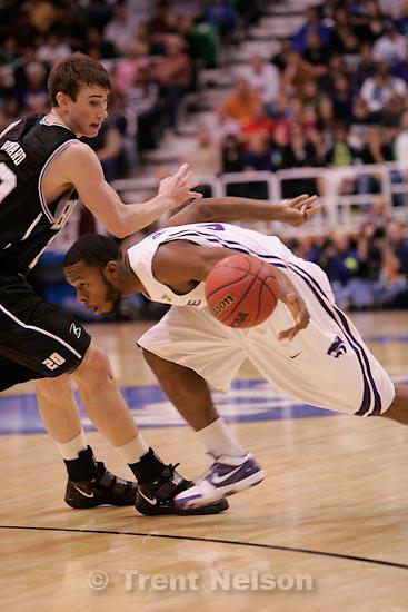 Trent Nelson     The Salt Lake Tribune.Salt Lake City - Butler vs. Kansas State, NCAA West Regional (Final Eight), Saturday, March 27, 2010. Butler guard/forward Gordon Hayward (20) Kansas State guard Jacob Pullen (0)