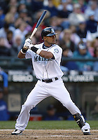 04 October 2009: Seattle Mariners center fielder #21 Franklin Gutierrez sets up in the batters box against the Texas Rangers. Seattle won 4-3 over the Texas Rangers at Safeco Field in Seattle, Washington.