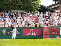 Tommy Fleetwood (ENG) in action on the 1st hole during third round at the Omega European Masters, Golf Club Crans-sur-Sierre, Crans-Montana, Valais, Switzerland. 31/08/19.<br /> Picture Stefano DiMaria / Golffile.ie<br /> <br /> All photo usage must carry mandatory copyright credit (© Golffile | Stefano DiMaria)