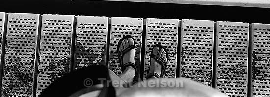 Trent feet on walkway<br />