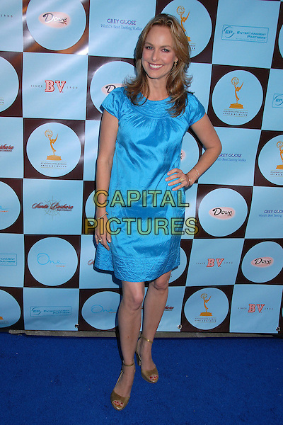 MELORA HARDIN.Academy of Television Arts & Sciences Honors 2007 Primetime Emmy Nominees, West Hollywood, California, USA..September 9th, 2007.full length dress hand on hip beige shoes turquoise .CAP/ADM/BP.©Byron Purvis/AdMedia/Capital Pictures.