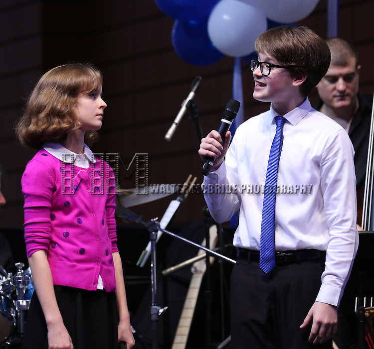 Jake Lucas and Sydney Lucas performing at the Broadway Salutes 2015 in Anita's Way on September 29, 2015 in New York City.