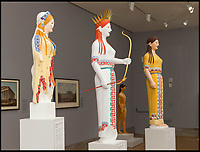 BNPS.co.uk (01202 558833)<br /> Pic: FineArtsMuseumSanFrancisco/BNPS<br /> <br /> The reimagined statues have been put on display at the Fine Arts Museum of San Francisco.<br /> <br /> The traditional view of the classical world full of austere white marble statue's and buildings has been transformed by a new book - that reveals the ancient world was in fact full of vibrant colours.<br /> <br /> Painstaking new research has discovered that most of the worlds most iconic art works from ancient Greece and Rome were in fact plastered with vibrant colours.<br /> <br /> However over the centuries the bright colours faded due to exposure to the elements and Renaissance maestros like Leonardo da Vinci and Michelangelo working in the 15th century believed it was the norm for sculptures to be white.<br /> <br /> Now, scientists are able to use ultra-violet photography to examine ancient pigment's and recreate how sculptures dating back to the Classical age would have looked.