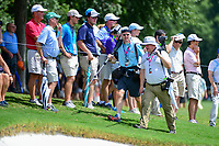Two photographers make their way down 1 during Saturday's round 3 of the PGA Championship at the Quail Hollow Club in Charlotte, North Carolina. 8/12/2017.<br /> Picture: Golffile | Ken Murray<br /> <br /> <br /> All photo usage must carry mandatory copyright credit (&copy; Golffile | Ken Murray)