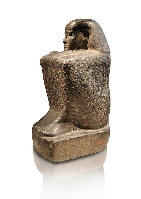 Ancient Egyptian granite block statue of the steward Haruafrom Thebes. 26th Dynasty 500 BC. Neues Museum Berlin AM 8163.