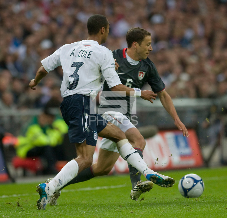 Steve Cherundolo, Ashley Cole. The United States Men's National Team lost to England 2-0 in an international friendly at Wembley Stadium, London, England. May 28, 2008.