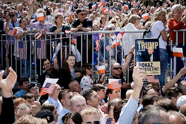 Warsaw, Poland, 6/07/2017:<br /> Polish Trump supporters during his speech, during visit of US president Donald Trump in Poland.<br /> Photo by Piotr Malecki / Napo Images<br /> <br /> Zwolennicy Donalda Trumpa i prezydenta Andrzeja Dudy. Wizyta prezydenta Trumpa w Polsce, Warszawa 6/07/2017<br /> Fot: Piotr Malecki / Napo Images