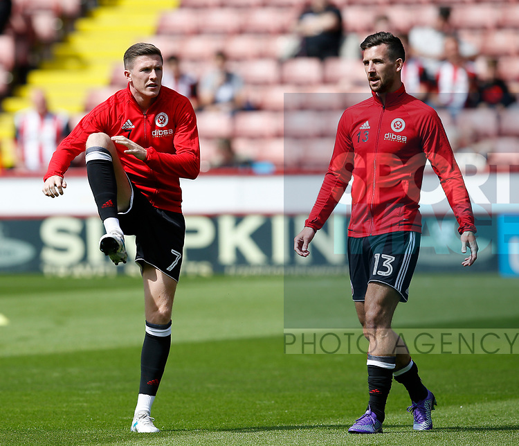 John Lundstram of Sheffield Utd and Jake Wright of Sheffield Utd  during the English Championship League match at Bramall Lane Stadium, Sheffield. Picture date: August 5th 2017. Pic credit should read: Simon Bellis/Sportimage
