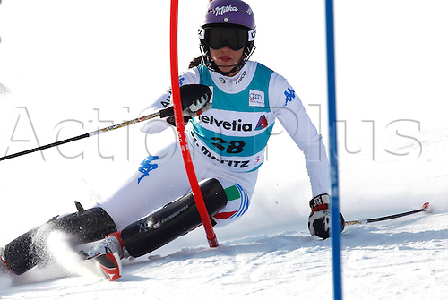 29.01.2012.  Ski Alpine FIS WC St Moritz Super Combination women  Ski Alpine FIS World Cup Super combination for women Slalom Picture shows Elena Curtoni ITA