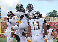 College Park, MD - September 9, 2017: Towson Tigers wide receiver Jabari Allen (18) celebrates with teammates after scoring a touchdown during game between Towson and Maryland at  Capital One Field at Maryland Stadium in College Park, MD.  (Photo by Elliott Brown/Media Images International)