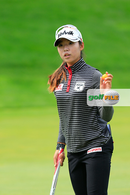 Mi Hyang Lee (KOR) sinks her putt on the 5th green during Sunday's Final Round of the LPGA 2015 Evian Championship, held at the Evian Resort Golf Club, Evian les Bains, France. 13th September 2015.<br /> Picture Eoin Clarke | Golffile
