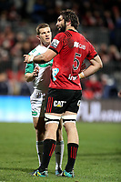 Sam Whitelock talks to the referee during the Super Rugby match between the Crusaders and Highlanders at Wyatt Crockett Stadium in Christchurch, New Zealand on Friday, 06 July 2018. Photo: Martin Hunter / lintottphoto.co.nz