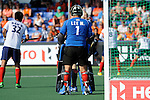 The Hague, Netherlands, June 01: Myungho Lee #1 of Korea looks on during the field hockey group match (Men - Group B) between the Black Sticks of New Zealand and Korea on June 1, 2014 during the World Cup 2014 at GreenFields Stadium in The Hague, Netherlands. Final score 2:1 (1:0) (Photo by Dirk Markgraf / www.265-images.com) *** Local caption ***