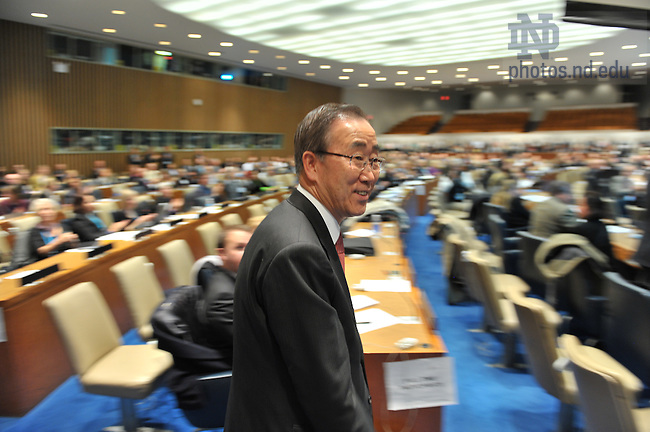 United Nations Secretary General Ban Ki-Moon enters for the closing session of the Global Forum for Responsible Management Education, held at United Nations headquarters, New York City...Photo by Matt Cashore/University of Notre Dame