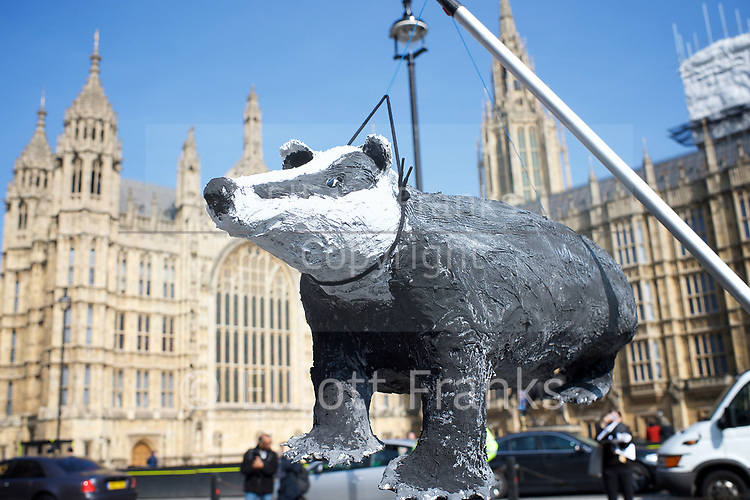 Badger cull protest outside Parliament <br /> ahead of debate, led by Paul Flynn MP, a member of the Petitions Committee, is on the motion &quot;That this House has considered e-petition 165672 relating to badger culling.&quot;<br /> 27th March 2017 <br /> Westminster , London, Great Britain <br /> <br /> Photograph by Elliott Franks <br /> Image licensed to Elliott Franks Photography Services