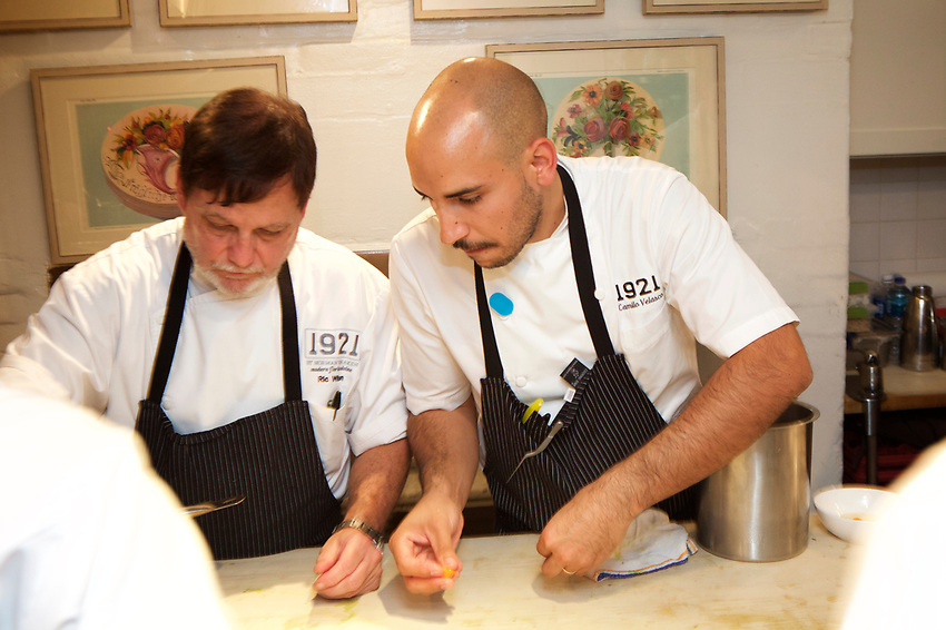 NEW YORK, NY - June 21, 2017: Chef Camilo Velasco and the team from 1921 by Norman Van Aken present dinner of Modern Florida Cuisine at the James Beard House in Greenwich Village. <br /> <br /> Credit: Clay Williams for the James Beard Foundation.<br /> <br /> &copy; Clay Williams / http://claywilliamsphoto.com