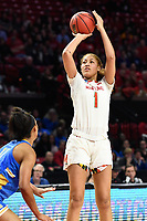 College Park, MD - March 25, 2019: Maryland Terrapins forward Shakira Austin (1) connects on a jump shot during second round game of NCAAW Tournament between UCLA and Maryland at Xfinity Center in College Park, MD. UCLA advanced to the Sweet 16 defeating Maryland 85-80.(Photo by Phil Peters/Media Images International)