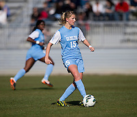 Katie Bowen (15) of North Carolina brings the ball up the field during the game at the Maryland SportsPlex in Boyds, MD.  The Washington Spirit defeated the North Carolina Tar Heels in a preseason exhibition, 2-0.