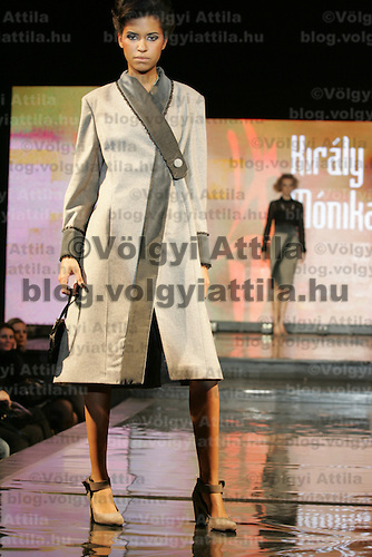 Model presents creations from Hungarian designer Monika Kiraly during the Budapest Fashion Week held in Budapest, Hungary on November 24, 2010. ATTILA VOLGYI