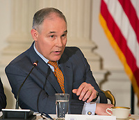 Environmental Protection Agency Administrator Scott Pruitt  participates in a meeting with state and local officials regarding the Trump infrastructure plan, February 12, 2018 at The White House in Washington, DC. <br /> CAP/MPI/CNP/RS<br /> &copy;RS/CNP/MPI/Capital Pictures