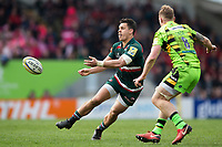Matt Toomua of Leicester Tigers passes the ball. Aviva Premiership match, between Leicester Tigers and Northampton Saints on April 14, 2018 at Welford Road in Leicester, England. Photo by: Patrick Khachfe / JMP