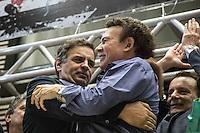 SAO PAULO, SP, 29.06.2014 - CONVENCAO PTB  - APOIO AECIO/ALCKMIN . O candidato do Partido da Social Democracia Brasileira (PSDB) a presidência da republica, Aecio Neves, e Campos Machado durante convenção do Partido Trabalhista Brasileiro (PTB) na assembleia legislativa de São Paulo, na manhã deste domingo (29) . O PTB apoiará as candidaturas de Geraldo Alckmin ao governo de São Paulo e Aecio Neves para Presidencia da Republica. (Foto: Adriana Spaca/Brazil Photo Press)