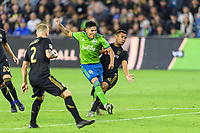 Los Angeles, CA - October 24, 2019.  Seattle Sounders FC defeated LAFC 3 - 1 in the Western Conference Championship match at Banc of California Stadium in Los Angeles.  Raul Ruidiaz scores.