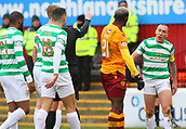 18th March 2018, Fir Park, Motherwell, Scotland; Scottish Premiership football, Motherwell versus Celtic;  Celtic's Scott Brown continues the argument as Cedric Kipre is being sent off