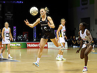 28.07.2015 Silver Ferns Laura Langman in action during the Silver Fern v South Africa netball test match played at Trusts Arena in Auckland. Mandatory Photo Credit ©Michael Bradley.