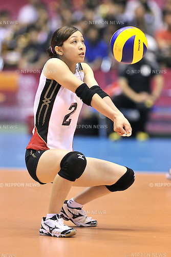 Arisa Sato (JPN),<br /> AUGUST 16, 2013 - Volleyball :<br /> 2013 FIVB World Grand Prix, Preliminary Round Week 3 Pool M match Japan 0-3 Bulgaria at Sendai Gymnasium in Sendai, Miyagi, Japan. (Photo by Ryu Makino/AFLO)