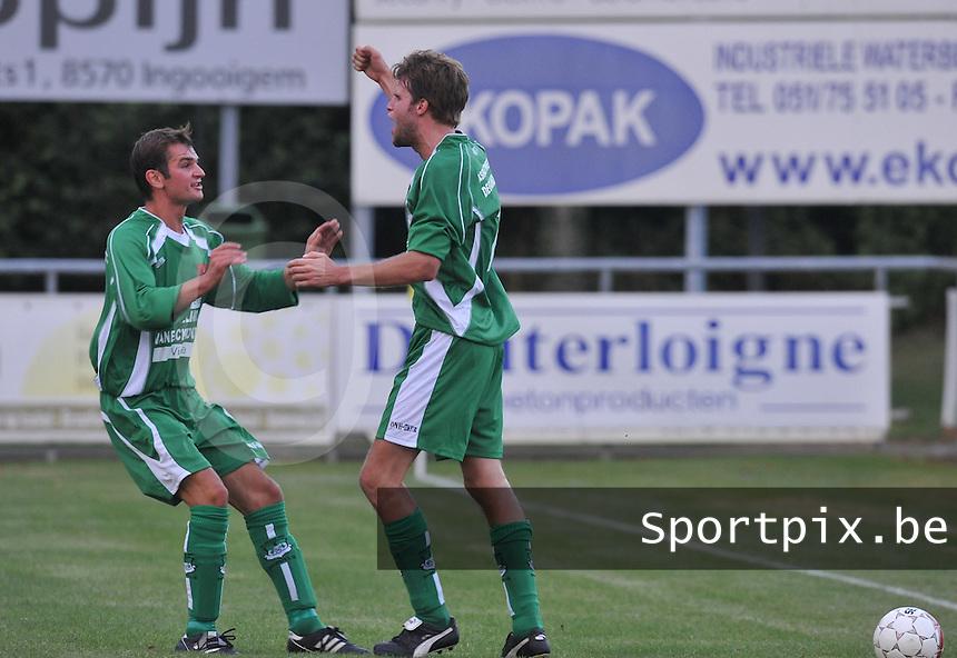 GD Ingooigem - VK Avelgem : Gert-Jan Riggolle scoort de 1-0 voor Ingooigem.foto VDB / BART VANDENBROUCKE