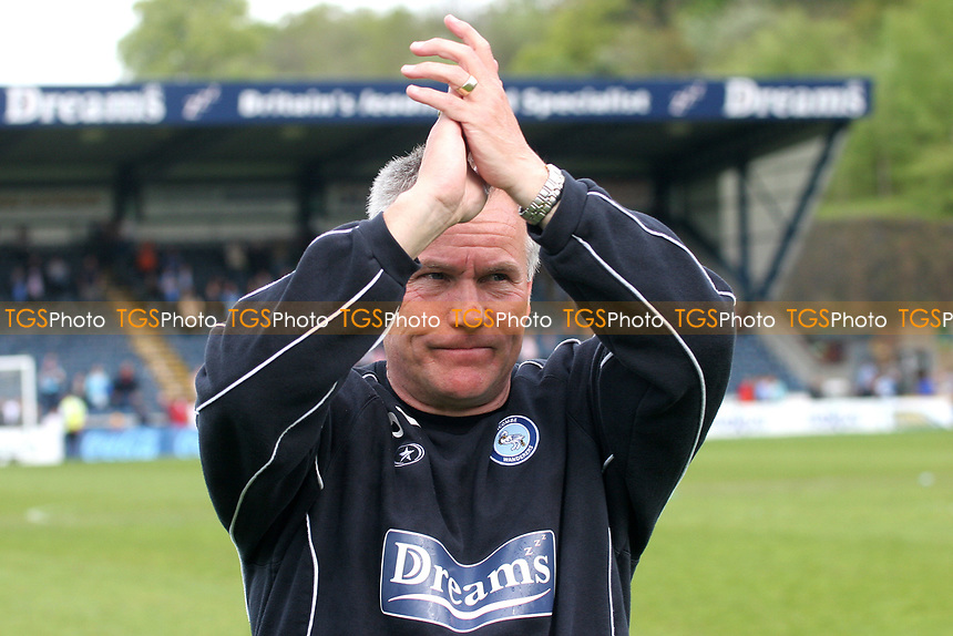 Wycombe Wanderers Manager, Peter Taylor, applauds the home fans after winning promotion from Division Two during Wycombe Wanderers vs Notts County, Coca Cola League Division Two Football at Adams Park on 2nd May 2009