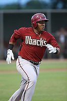 Eudy Ramos (22) of the AZL Diamondbacks runs to first base during a game against the AZL Dodgers at the Los Angeles Dodgers Spring Training Complex on July 3, 2015 in Glendale, Arizona. Diamondbacks defeated the Dodgers, 5-1. (Larry Goren/Four Seam Images)