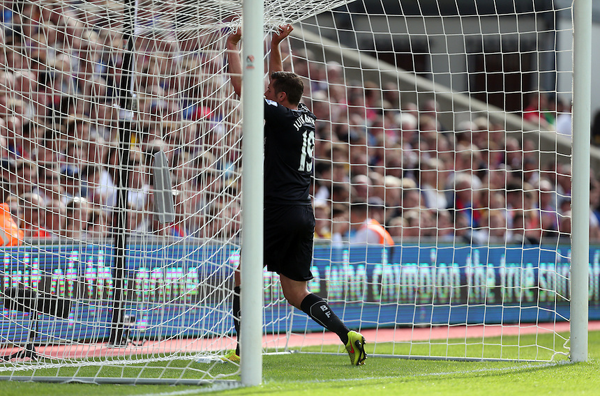 Burnley's Lukas Jutkiewicz near miss<br /> <br /> Photographer Kieran Galvin/CameraSport<br /> <br /> Football - Barclays Premiership - Crystal Palace v Burnley - Saturday 13th September 2014 - Selhurst Park - London<br /> <br /> &copy; CameraSport - 43 Linden Ave. Countesthorpe. Leicester. England. LE8 5PG - Tel: +44 (0) 116 277 4147 - admin@camerasport.com - www.camerasport.com