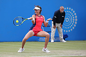June 16th 2017, Nottingham, England;WTA Aegon Nottingham Open Tennis Tournament day 7; Forehand from Johanna Konta of Great Britain as she takes the first set against Ashleigh Barty of Australia; Konta won 6-3, 7-5 to reach the semi finals