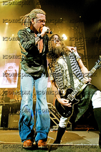 Guns n' Roses - Axl Rose and guitarist Robin Finck - performing live at the Hammerstein Ballroom in New York USA - 12 May 2006.  Photo credit: George Chin/IconicPix